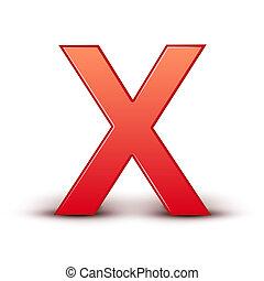 x, rojo, carta