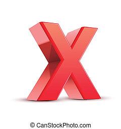 x, rotes , brief, 3d