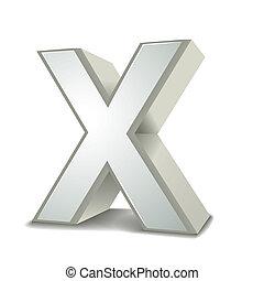 x, silber, brief, 3d