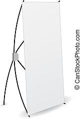 x-stands, exposer, bannière, isolé, côté