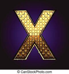 x vector golden letter