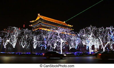 xa1 - night street of chinese city, Xi\'an, China,