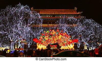 xa11 - night street of chinese city, Xi\'an, China,