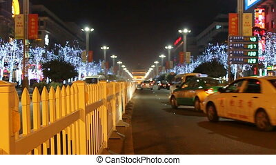 xa13 - night street of chinese city, Xi\'an, China,