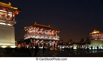 xa14 - night street of chinese city, Xi\'an, China,