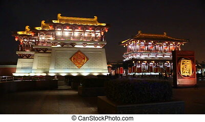 xa15 - night street of chinese city, Xi\'an, China,