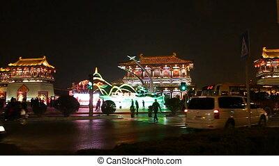 xa17 - night street of chinese city, Xi\'an, China,