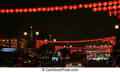 xa18 - night street of chinese city, Xi\'an, China,