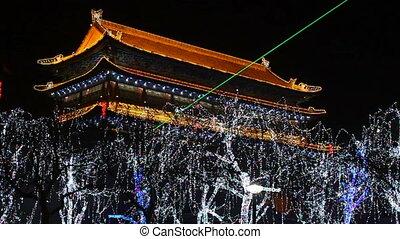 xa3 - night street of chinese city, Xi\'an, China,