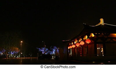 xa37 - night street of chinese city, Xi\'an, China,