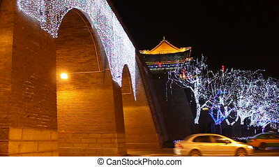 xa4 - night street of chinese city, Xi\'an, China,