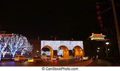 xa6 - night street of chinese city, Xi\'an, China,