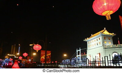 xa9 - night street of chinese city, Xi\'an, China,