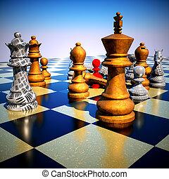 xadrez, batalha, -defeat
