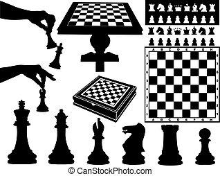 xadrez, ilustração, pedaços