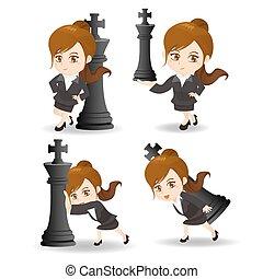 xadrez, negócio, empurrão, mulher