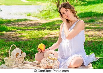xadrez, piquenique, grávida, sarafan, parque, menina jovem, branca