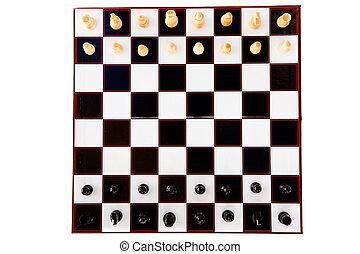 xadrez preto branco, pedaços, ficar