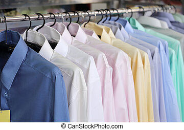 xadrez, varejo, mens, camisas, cabides, loja