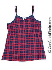 xadrez, vermelho, pajama, camisa