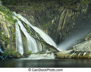Xallas Waterfall in Ezaro at night