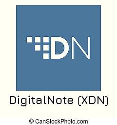 (xdn)., crypto, ilustración, digitalnote, vector, coi