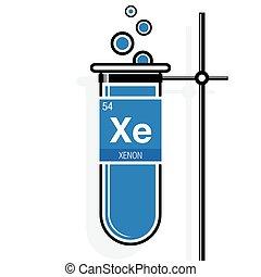 Tabla icon peridico elemento xenn vector vector de xenn smbolo en etiqueta en un azul probeta urtaz Image collections