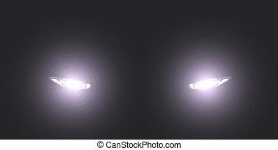 xenon car headlight in foggy dark