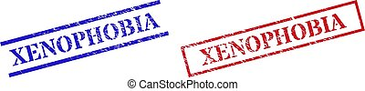 XENOPHOBIA Textured Rubber Seal Stamps with Rectangle Frame
