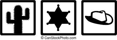 xerife, ícones, -, cacto, xerife, estrela, xerife, chapéu