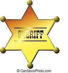 xerife, badge., vetorial, ilustração