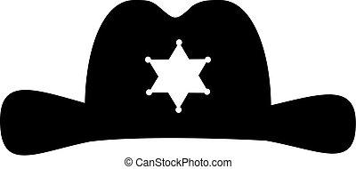 xerife, chapéu, com, estrela, ícone
