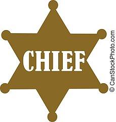 xerife, chefe, estrela