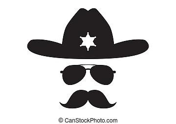 xerife, com, bushy, bigode