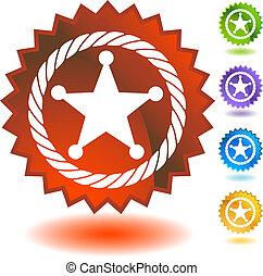 xerife, corda, emblema, ícone, emblema