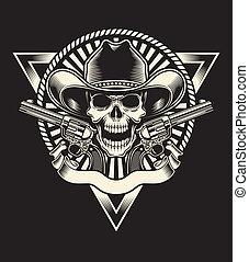 xerife, cranio, com, revólver