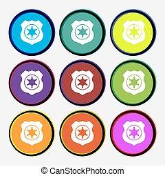 xerife, estrela, ícone, sinal., nove, multi coloriu, redondo, buttons., vetorial