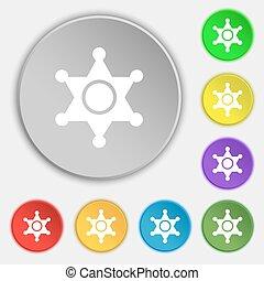 xerife, estrela, ícone, sinal., símbolo, ligado, oito, apartamento, buttons., vetorial