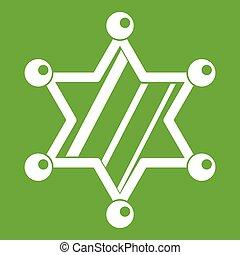 xerife, estrela, ícone, verde