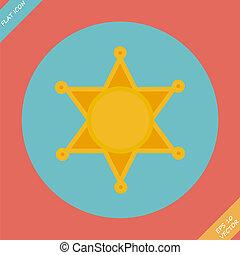 xerife, estrela, ícone, -, vetorial, illustration.