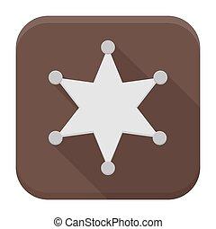 xerife, estrela, apartamento, app, ícone, com, longo, sombra