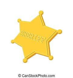 xerife, estrela, caricatura, ícone