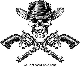 xerife, estrela, chapéu, cranio, e, pistolas