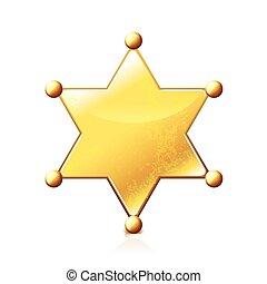 xerife, estrela, isolado, branco, vetorial