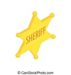 xerife, estrela, isometric, 3d, ícone