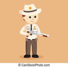 xerife, oficial, segurando, espingarda