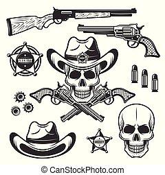 xerife, ou, marshal, vetorial, objetos, e, elementos