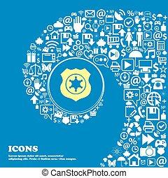 xerife, sinal estrela, ícone, ., agradável, jogo, de, bonito, ícones, torcido, espiral, em, a, centro, de, um, grande, icon., vetorial