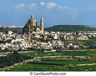 Xewkija - The city and parish church of Xewkija, Gozo -...