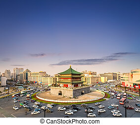 Xi 'an bell tower at sunset